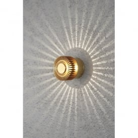 Monza Single Light Circular LED Outdoor Wall Fitting with Anodized Brass Finish