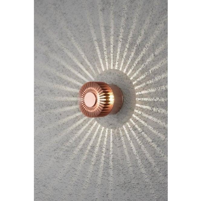 Konstsmide monza single light circular led outdoor wall fitting with monza single light circular led outdoor wall fitting with anodized copper finish aloadofball Choice Image