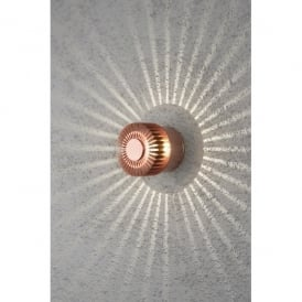 Monza Single Light Circular LED Outdoor Wall Fitting with Anodized Copper Finish