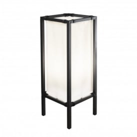 Palermo Single Light Outdoor Lounge Lamp In Black Finish With White Fabric Diffuser