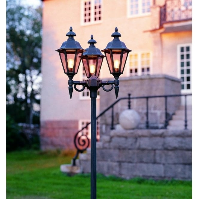 Konstsmide Pallas 3 Light Outdoor Lamp Post Head In Black Finish With Smoked Acrylic Panels