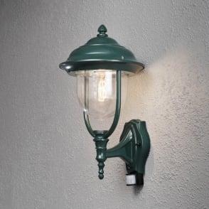 Konstsmide parma single light upward outdoor wall lantern in white parma single light upward outdoor wall lantern in green with pir sensor aloadofball Choice Image