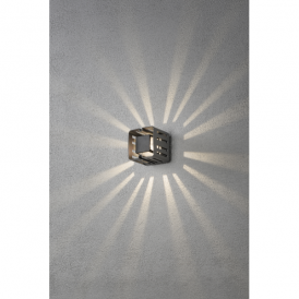 Pescara Single Light High Powered LED Square Wall Fitting in Painted Grey Aluminium Finish