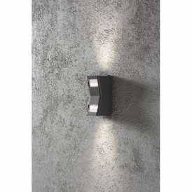 Potenza 2 Light LED Outdoor Wall Light in Anthracite Grey Finish