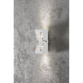 Potenza 2 Light LED Outdoor Wall Light in White Finish