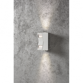 Potenza 2 Light LED Outdoor Wall Light in White Finish Small