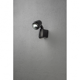 Prato High Powered LED Battery Operated Security Light in Black Finish with PIR