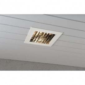 Recessed Exterior Ceiling Fitting in Lacquered White Finish