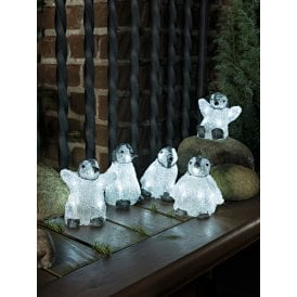 Set Of 5 Baby Penguins With 40 White LED's