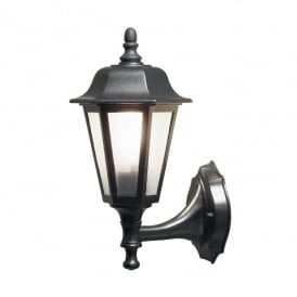 Wall Lamp Single Light Medium Outdoor Fitting In Black Finish With Clear Glass Panels