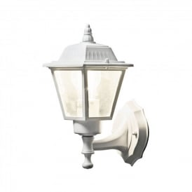 Wall Lamp Single Light Outdoor Fitting In White Finish With Clear Glass Panels
