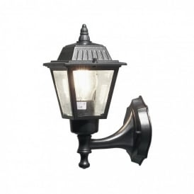 Wall Lamp Single Light Outdoor Wall Fitting In Black Finish With Clear Glass Panels
