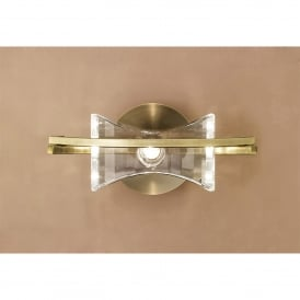 Kromo Single Light Switched Wall Fitting in Antique Brass Finish