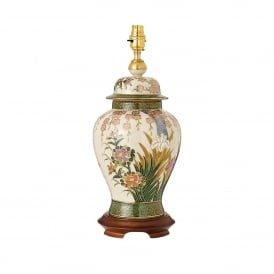 Kutani Lily & Irises Single Light Large Ceramic Table Lamp Base Only