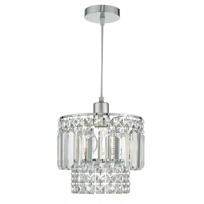 Dar Lighting Kyla Easy Fit Ceiling Pendant Shade in Polished Chrome and Glass Finish