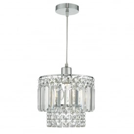Kyla Easy Fit Ceiling Pendant Shade in Polished Chrome and Glass Finish