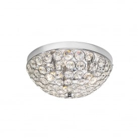 Kyrie 3 Light Flush Ceiling Fitting In Polished Chrome And Crystal Finish
