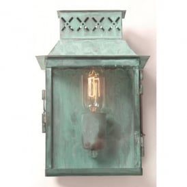 Lambeth Palace Single Light Solid Brass Outdoor Wall Lantern in a Verdigris Finish