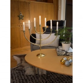 Large 7 Light Candlestick Light in Brass Finish