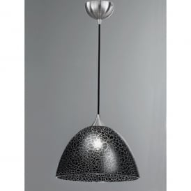 Large Single Light Pendant with Black Crackle Effect Glass Shade