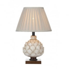 Layer Single Light Distressed Cream Table Lamp With a Stone Cotton Shade
