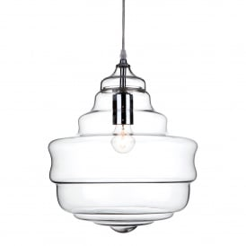Lazio Single Light Ceiling Pendant In Polished Chrome Finish With Clear Glass Shade