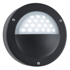 LED Circular Outdoor Wall Fitting Black Finish With Acid Glass