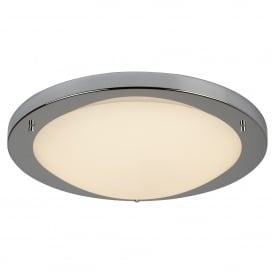 LED Flush Large Bathroom Ceiling Fitting In Polished Chrome Finish With Opal Glass Shade