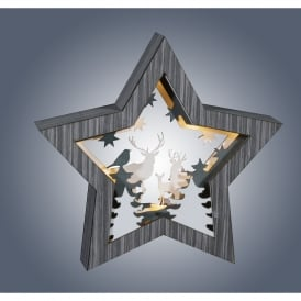 LED Grey Wooden Star with Stag Diorama