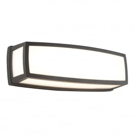 LED Outdoor Large Rectangle Wall Fitting In Dark Grey Finish With Opal White Diffuser