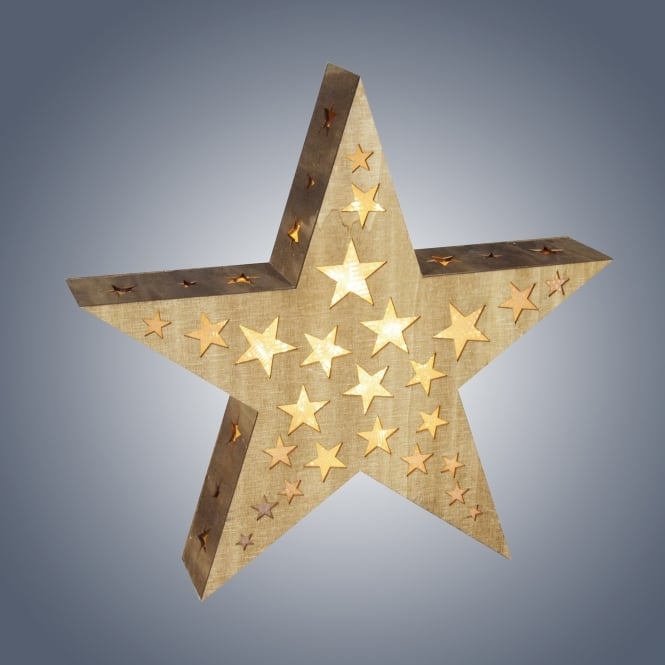 Dar Lighting LED Wooden Star with Hologram Cut Outs