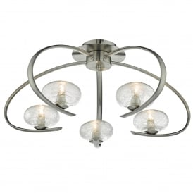 Leighton 5 Light Semi Flush Ceiling Fitting in Satin Chrome Finish with Glass Shades