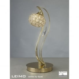 Leimo Single Light Halogen Table Lamp In French Gold Finish