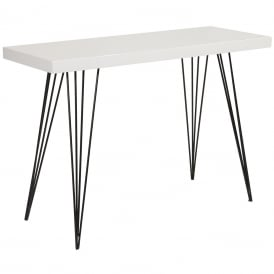 Leland Console Table With Gloss White Top And Black Legs
