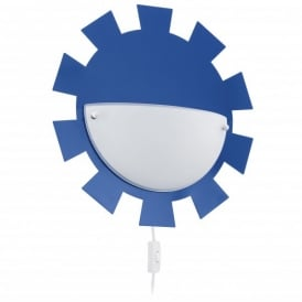 Leonie Single Light Wall Fitting In Blue Finish With White Satinated Glass