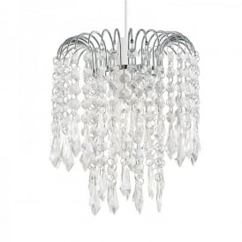 Levens Ceiling Light Pendant Shade In Polished Chrome Finish With Clear Acrylic Beads