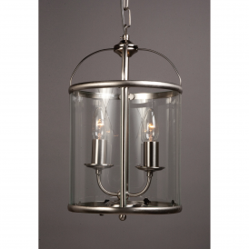 LG77132/SN Orly Satin Nickel 2 Light Lantern