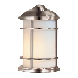 Lighthouse Outdoor Single Light Half Wall Lantern in Brushed Steel Finish