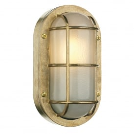 Lighthouse Single Light Outdoor Wall Fitting Made From Solid Brass With Frosted Glass Diffuser