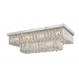 Lilou Twelve Light Flush Convertible Ceiling Pendant In Polished Chrome and Crystal Finish