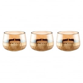 Lima Set of 3 Small Tealight Holders in Gold Lustre Glass & Matt Gold Paint