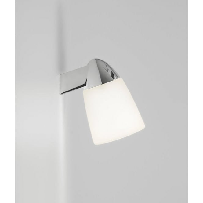 Astro Lighting Lincoln Single Light Bathroom Wall Fitting In Polished Chrome And White Glass Finish