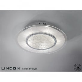 Lindon 5 Light Circular Polished Chrome Ceiling Fitting with Frosted Glass