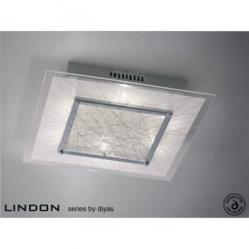 Lindon 6 Light Square Polished Chrome Ceiling Fixture with Frosted Glass