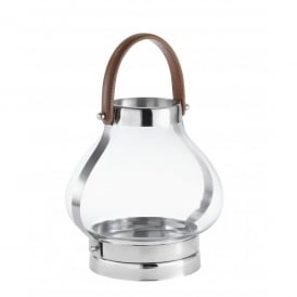 Lipski Small Glass Candle Lantern With Polished Chrome Detail And Leather Handle