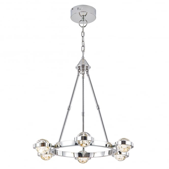 Dar Lighting Livia 6 LED Ceiling Pendant in Polished Chrome Finish with Glass