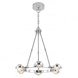 Livia 6 LED Ceiling Pendant in Polished Chrome Finish with Glass