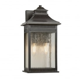 Livingston Coastal 2 Light Medium Wall Lantern in Imperial Bronze Finish with Seeded Glass