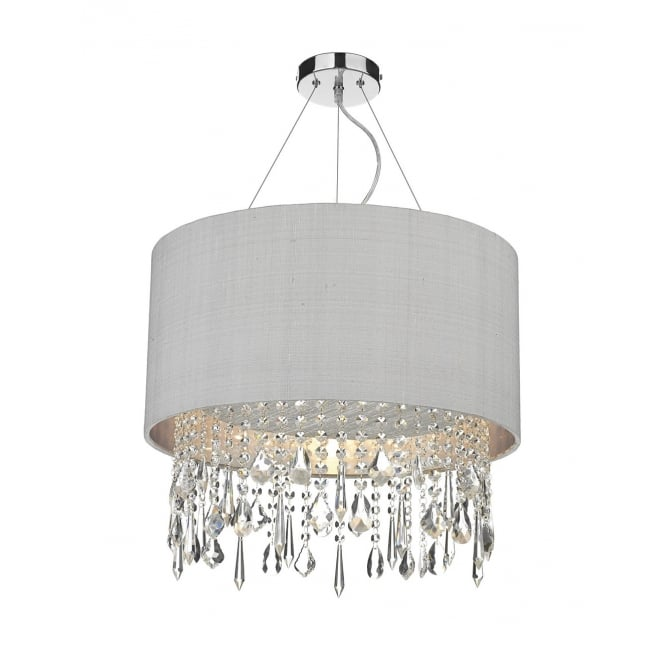Dar Lighting Lizard Single Light Ceiling Pendant With Silver Grey Shade And Crystal Glass Decoration