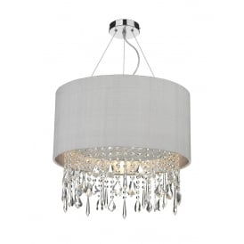Lizard Single Light Ceiling Pendant With Silver Grey Shade And Crystal Glass Decoration
